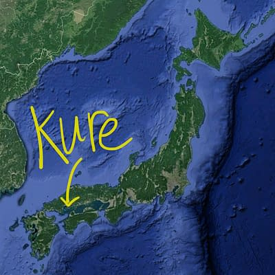Arrow pointing to Kure on a map of Japan