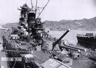 Battleship Yamato fitting out at Kure Naval Base, 1941